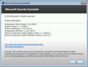 윈도우 디펜더 엔진 버전이 1.1.14306이면 아직 패치되지 않은 것이다.