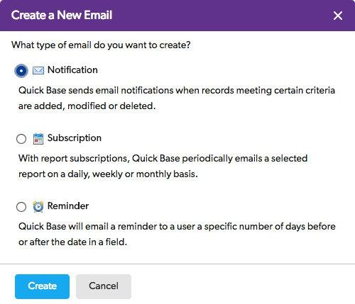 데이터가 변경됐을 때 자동으로 발송하는 이메일 형식도 지정할 수 있다.