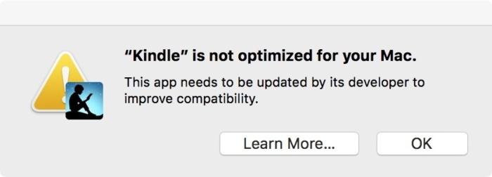 맥에서 킨들 앱을 실행하면 32비트 앱이어서 최적화되지 않았다는 경고가 뜬다.