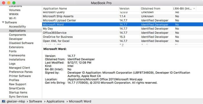 맥 시스템 리포트에서 64비트가 아닌 앱을 확인할 수 있다.